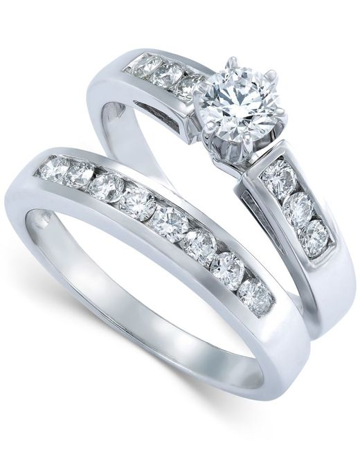 Macy s Diamond Engagement Ring Bridal Set In 14k White Gold 9 10 Ct T w