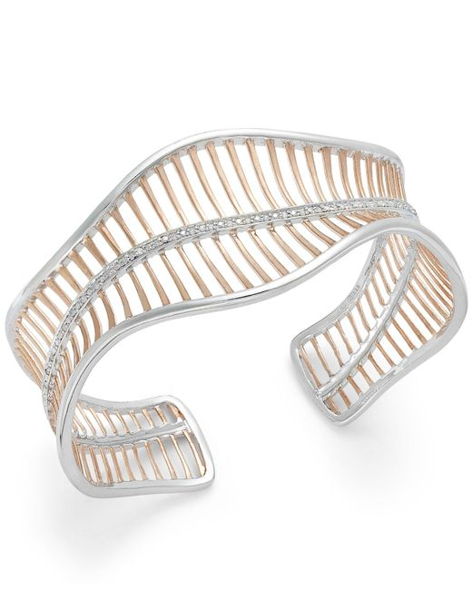 Macy's   Multicolor Diamond Wavy Cuff Bracelet In 18k Rose Gold Over Sterling Silver And Sterling Silver (1/4 Ct. T.w.)   Lyst