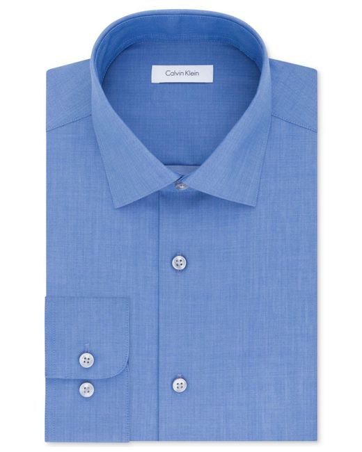 Calvin Klein   Multicolor Steel Men's Classic Fit Non-iron Performance Solid Dress Shirt for Men   Lyst
