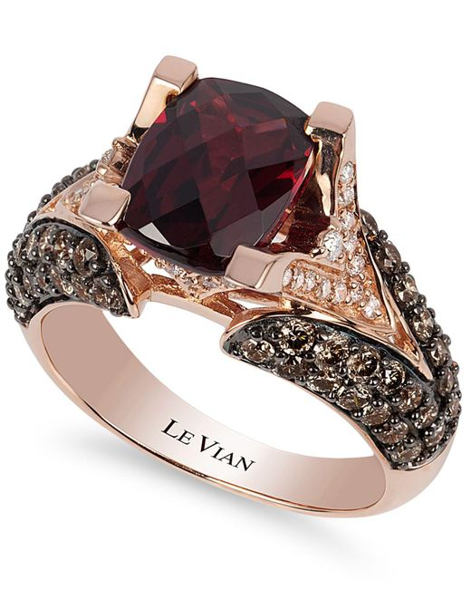 Le Vian - Red Raspberry Rhodolite Garnet (3 Ct. Tw.w.), Chocolate Diamond (1-1/5 Ct. T.w.) And White Diamond Accent Ring In 14k Rose Gold - Lyst