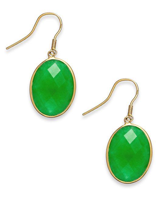Macy's | Green Dyed Jade Oval Drop Earrings In 14k Gold (16mm) | Lyst