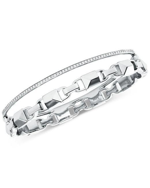 Michael Kors - Metallic Mercer Link Double Row Sterling Silver Bracelet - Lyst
