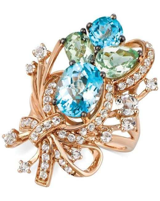 Le Vian | Crazy Collection Blue Topaz, White Topaz And Green Quartz Cluster Ring In 14k Rose Gold (7 Ct. T.w.), Only At Macy's | Lyst