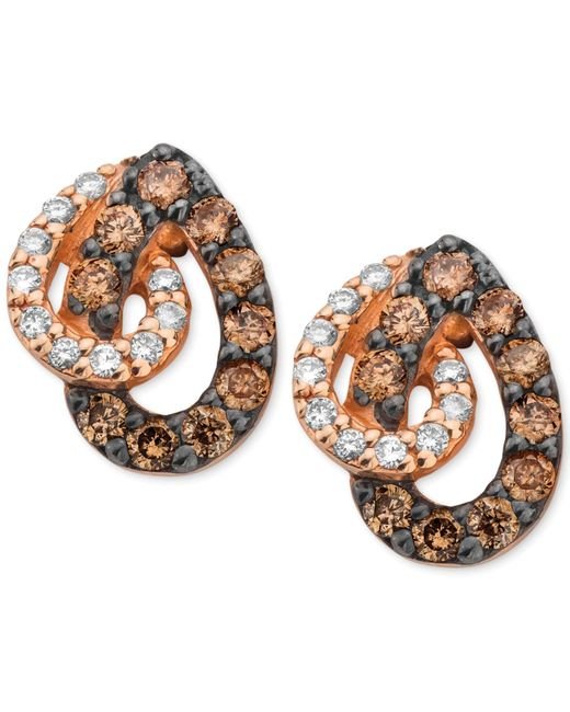 Le Vian | White And Chocolate Diamond Teardrop Earrings In 14k Rose Gold (1/2 Ct. T.w.) | Lyst