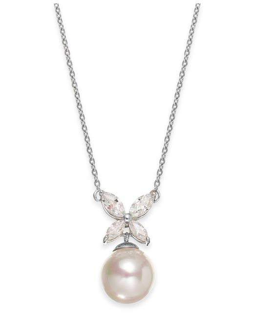 Majorica - Metallic Sterling Silver Organic Man-made Pearl Butterfly Pendant Necklace - Lyst