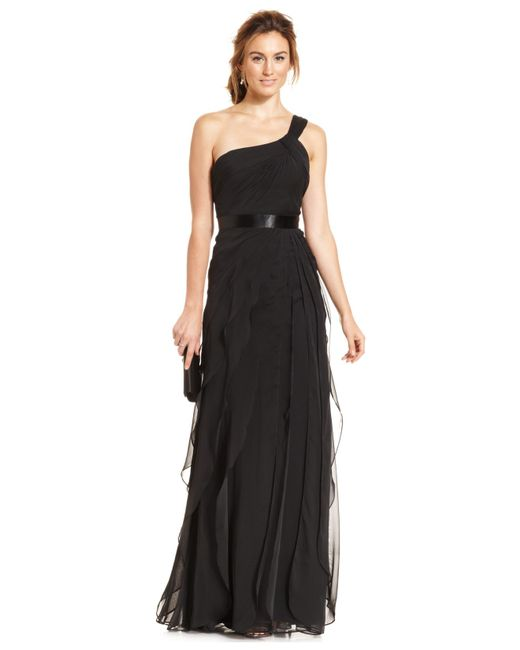 Adrianna Papell | Black One-shoulder Tiered Chiffon Gown | Lyst