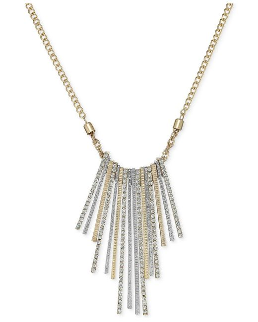 INC International Concepts | Gold-tone Metallic Stick Crystal Pave Frontal Necklace | Lyst