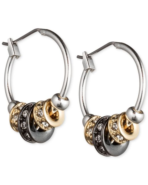 Nine West | Metallic Tri-tone Slider Hoop Earrings | Lyst
