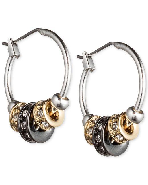 Nine West   Metallic Tri-tone Slider Hoop Earrings   Lyst