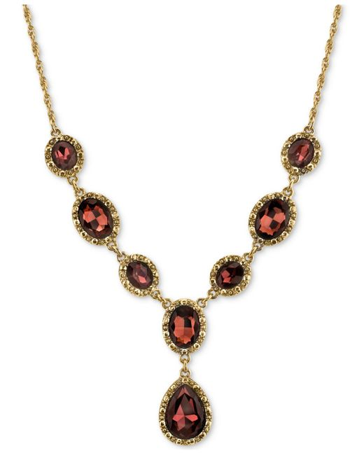2028 - Metallic Gold-tone Burgundy Crystal Lariat Necklace - Lyst
