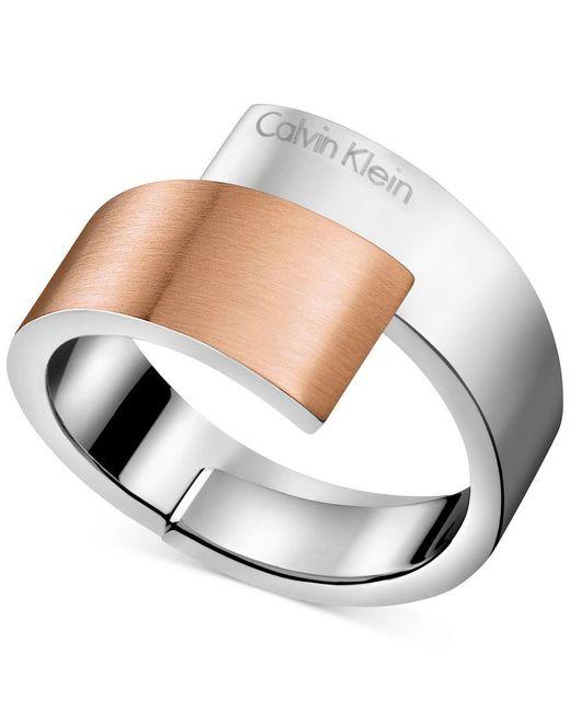 Calvin Klein   Metallic Two-tone Bypass Ring   Lyst