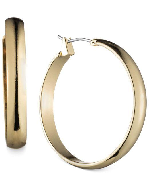 Anne Klein - Metallic Gold-tone Wide Hoop Earrings - Lyst