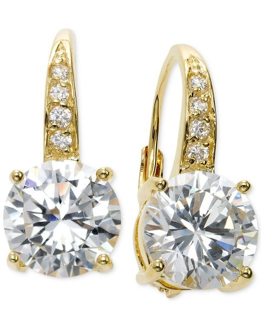 Giani Bernini | Metallic Cubic Zirconia Leverback Earrings In 18k Gold Over Sterling Silver | Lyst