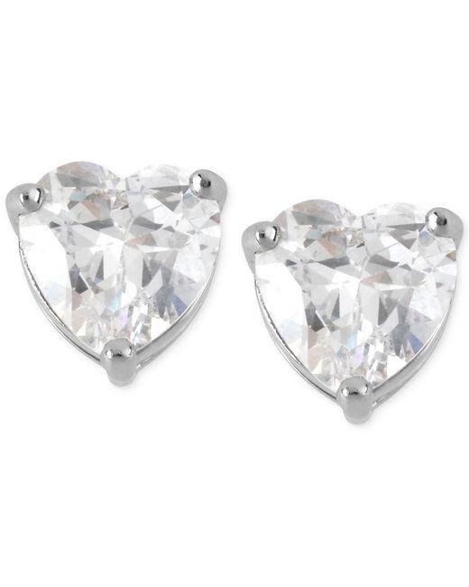 Betsey Johnson | Metallic Silver-tone Clear Crystal Heart Stud Earrings | Lyst