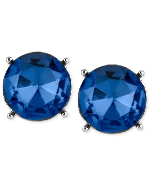 Kenneth Cole   Silver-tone Blue Faceted Bead Stud Earrings   Lyst