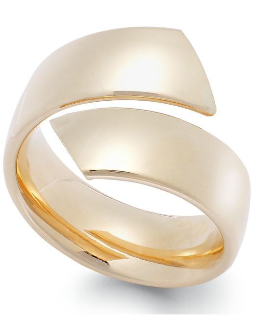 Macy's | Metallic Hollow Bypass Ring In 14k Gold | Lyst
