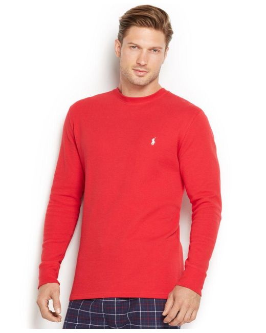 Polo Ralph Lauren | Red Men's Solid Waffle-knit Crew-neck Thermal Top for Men | Lyst
