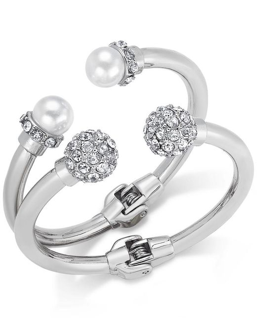 INC International Concepts | Metallic Imitation Pearl And Crystal Fireball Hinge Bracelet Set, Only At Macy's | Lyst