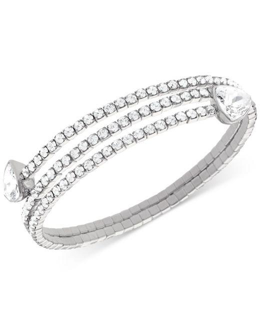 Swarovski   Metallic Silvertone And Crystal Twisted Bangle Bracelet   Lyst