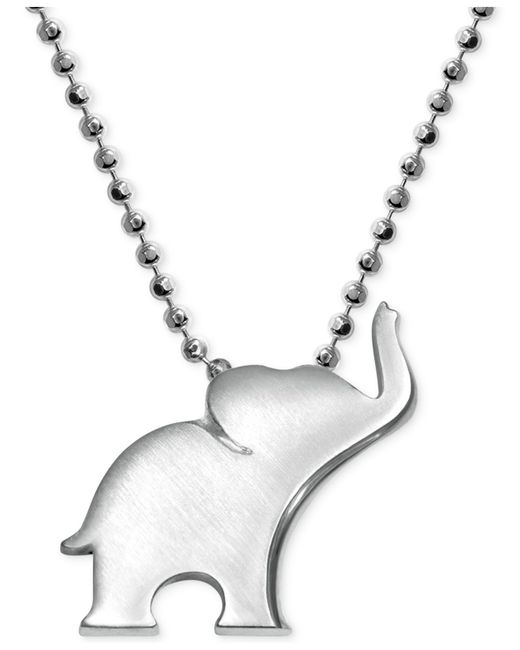Alex Woo | Metallic Elephant Pendant Necklace In Sterling Silver | Lyst