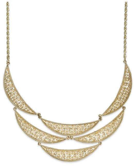 Macy's | Metallic Diamond-cut Crescent Frontal Bib Necklace In 14k Gold | Lyst