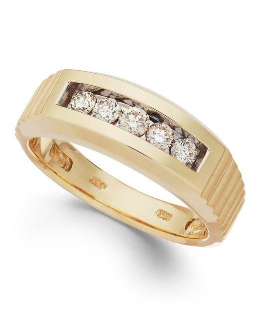 Macy s Men s Diamond Five stone Ring In 10k Gold 1 2 Ct T w in Me