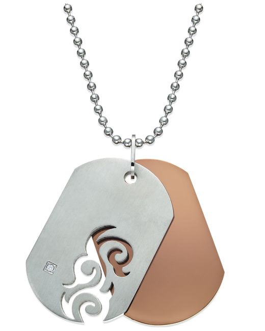 Macy's   Metallic Men's Diamond Accent Cutout Dog Tag Necklace In Stainless Steel   Lyst