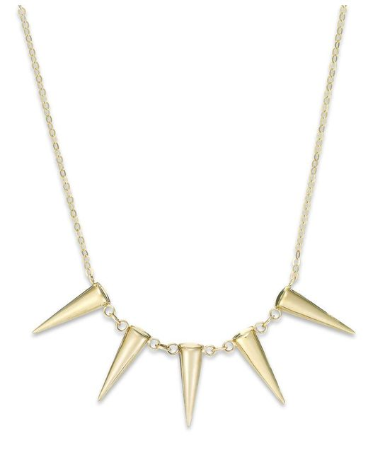 Macy's | Metallic Five Spike Frontal Necklace In 14k Gold | Lyst