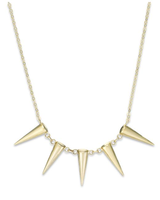 Macy's | Metallic Five Spike Frontal Necklace In 14k Gold | Lyst