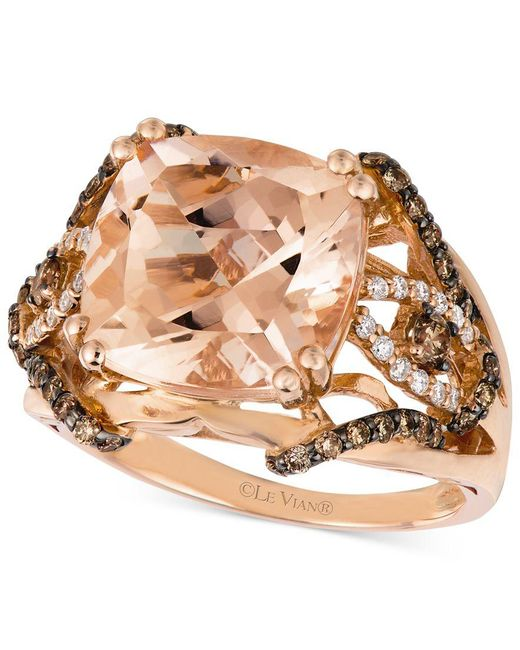 Le Vian | Pink Peach Morganite (6 Ct. T.w.) And Diamond (1/2 Ct. T.w.) Ring In 14k Rose Gold, Only At Macy's | Lyst