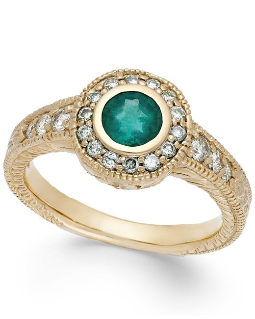 Macy's | Green Emerald (1/2 Ct. T.w.) And Diamond (1/3 Ct. T.w.) Round Ring In 14k Gold | Lyst