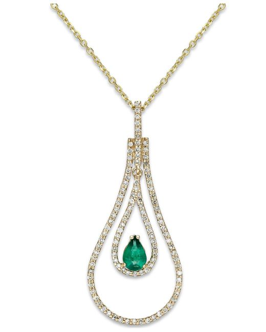 Macy's | Green Emerald (3/8 Ct. T.w.) And Diamond (3/8 Ct. T.w.) Pendant Necklace In 14k Gold | Lyst
