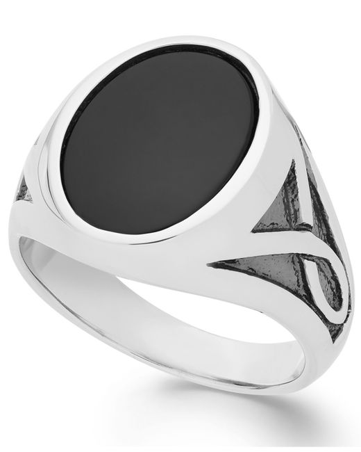Macy's | Black Men's Onyx Oval Ring In Sterling Silver (3-1/3 Ct. T.w.) for Men | Lyst