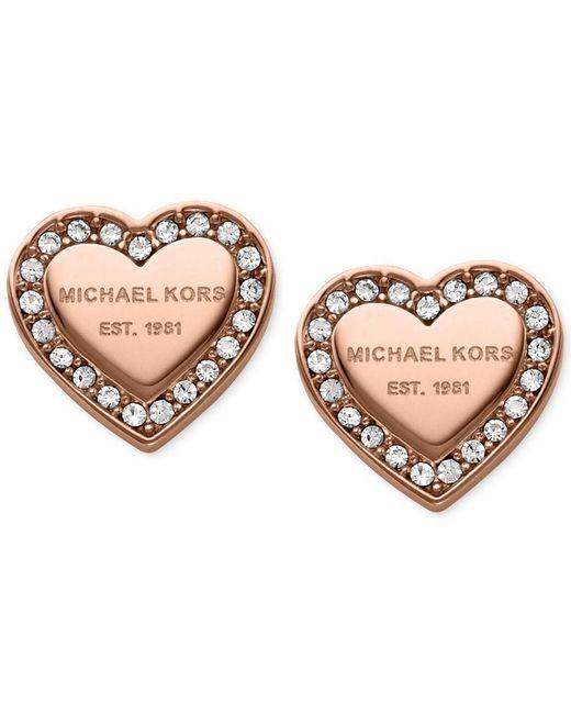 Michael Kors   Pink Crystal Heart Stud Earrings   Lyst