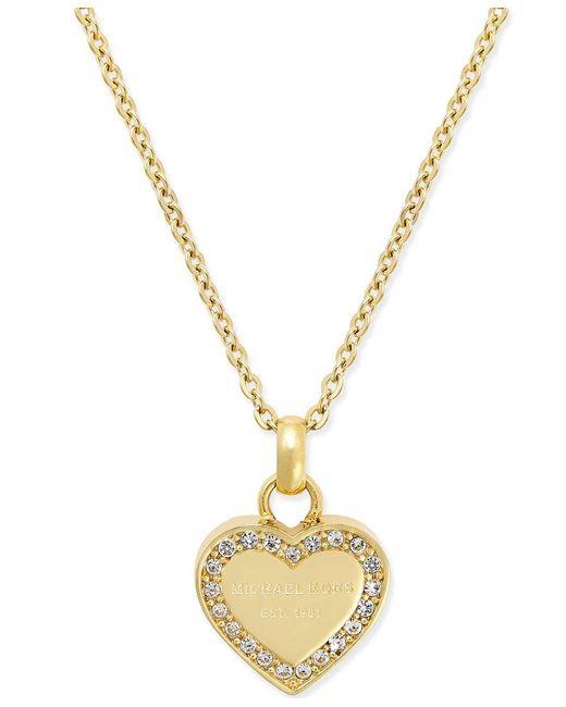 michael kors crystal heart pendant necklace in metallic lyst. Black Bedroom Furniture Sets. Home Design Ideas
