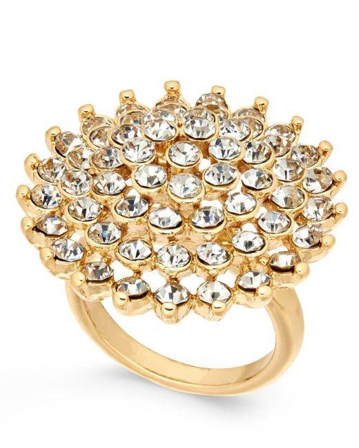 INC International Concepts | Metallic Gold-tone Pavé Flower Ring | Lyst