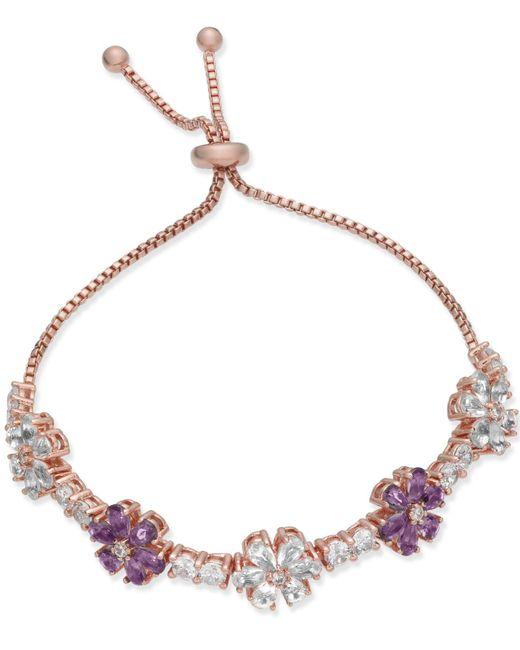 Joan Boyce - Pink Clear & Colored Crystal Flower Slider Bracelet - Lyst