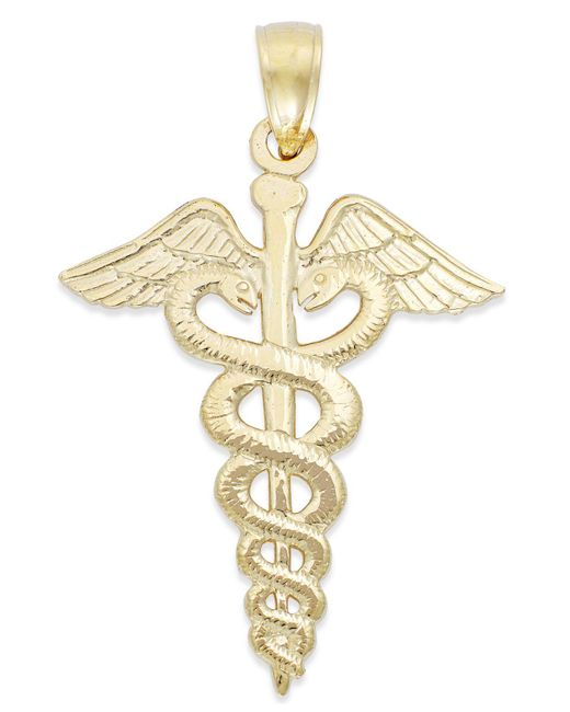 Macy's - Metallic Caduceus Charm In 14k Gold - Lyst