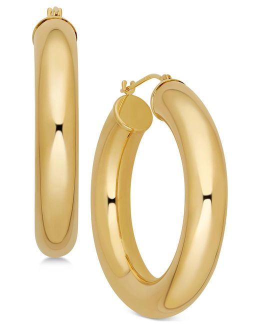 Macy's - Metallic Polished Chunky Tube Hoop Earrings In 14k Gold - Lyst