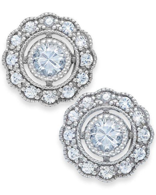 Macy's | Metallic White Sapphire Stud Earrings In 14k White Gold (7/8 Ct. T.w.) | Lyst