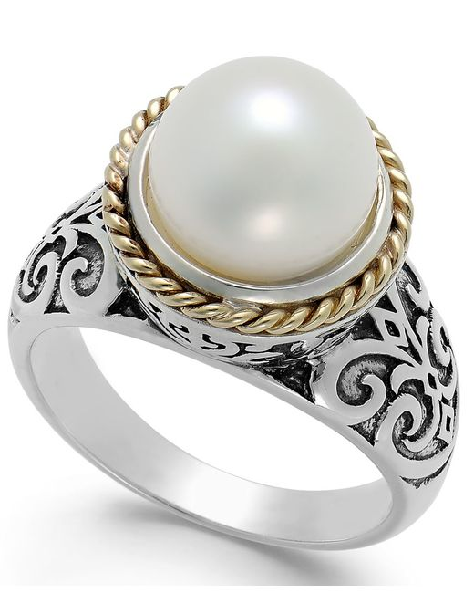 Macy's | Metallic Cultured Freshwater Pearl Scroll Ring In 14k Gold And Sterling Silver (10mm) | Lyst