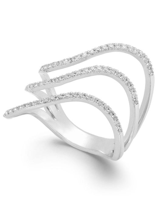 Macy's | Diamond Wavy Three-row Ring In 14k White Gold (1/3 Ct. T.w.) | Lyst