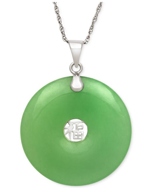 Macy's | Metallic Dyed Jade Symbol Pendant Necklace In Sterling Silver (25mm) | Lyst