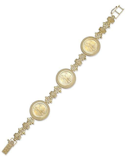 Macy's | Metallic Genuine Eagle Coin Bracelet In 22k And 14k Gold | Lyst