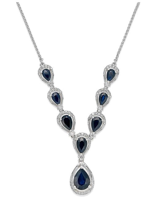 Macy's | Sapphire (5-1/2 Ct. T.w.) And Diamond (2 Ct. T.w.) Frontal Necklace In 14k White Gold | Lyst