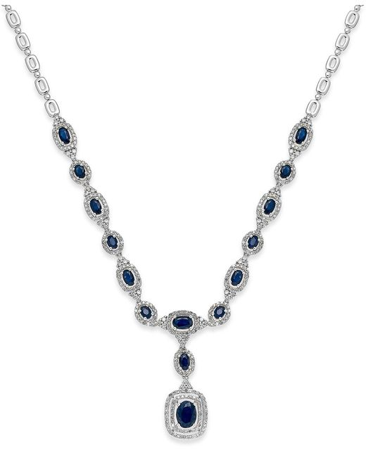 Macy's   Blue Sapphire (4-1/6 Ct. T.w.) And Diamond (3/8 Ct. T.w.) Frontal Necklace In 14k White Gold   Lyst