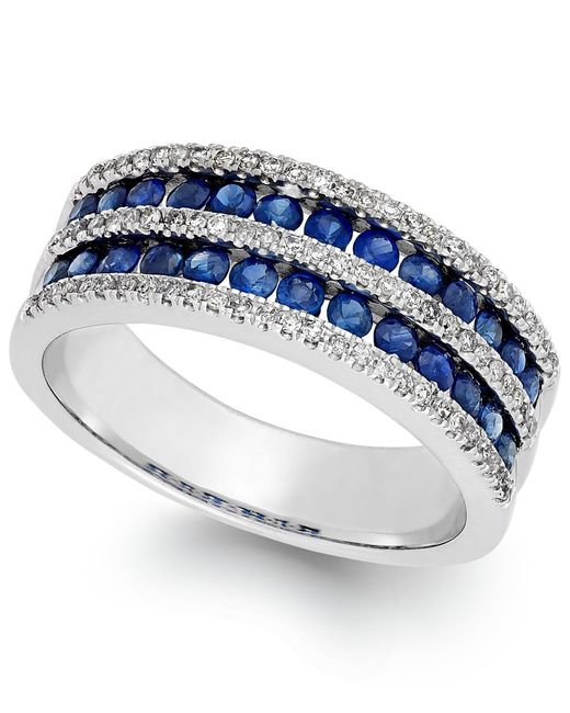 Macy's | Sapphire (1-1/10 Ct. T.w.) And Diamond (1/3 Ct. T.w.) Band In 14k White Gold | Lyst