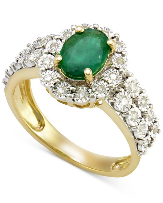 Macy's | Metallic Emerald (1 Ct. T.w.) And Diamond (1/4 Ct. T.w.) Ring In 14k Gold | Lyst