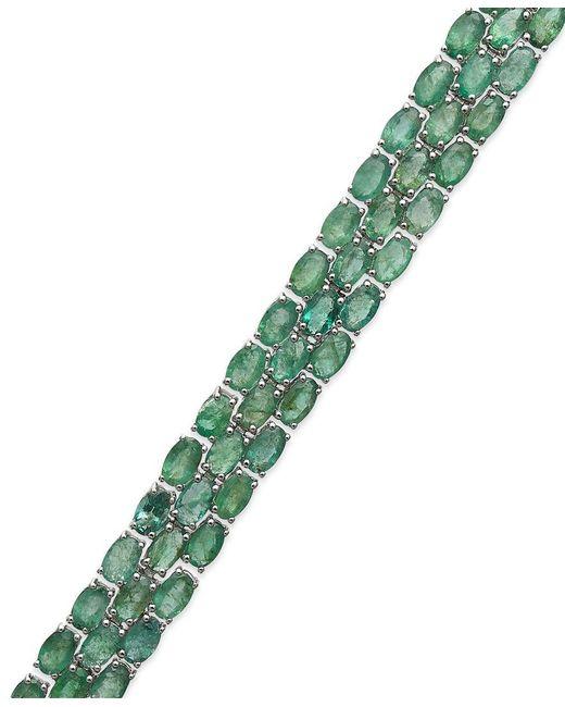 Macy's | Green Emerald Three-row Bracelet In Sterling Silver (25 Ct. T.w.) | Lyst