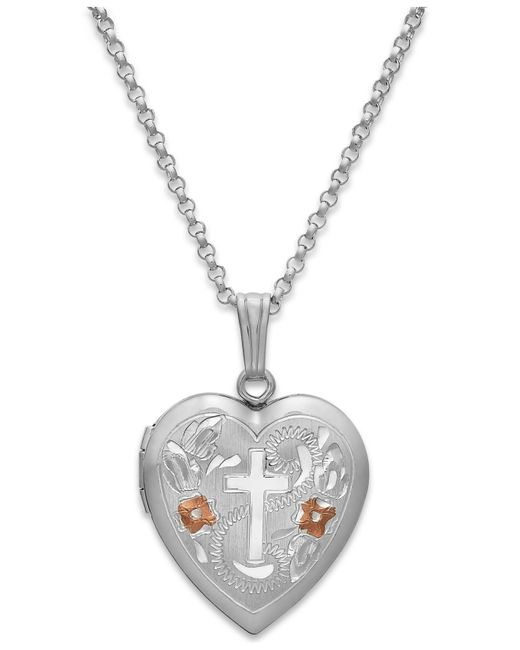 Macy's | Metallic Painted Cross Heart Locket Necklace In Sterling Silver | Lyst
